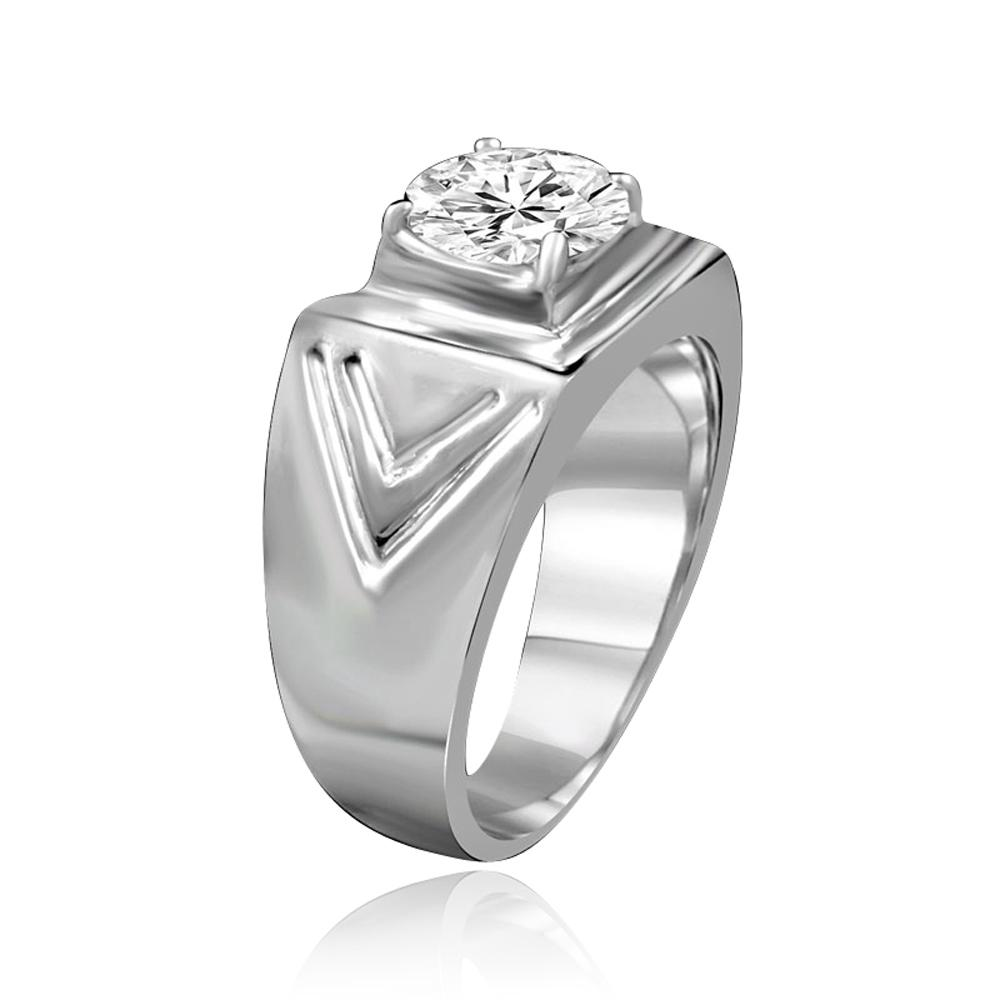 2 CT.(8mm) Intensely Radiant Round Diamond Veneer Cubic Zirconia Wide Chevron Band with fine Stainless Steel Man Ring. 635R1036 - Diamond Veneer Jewelry