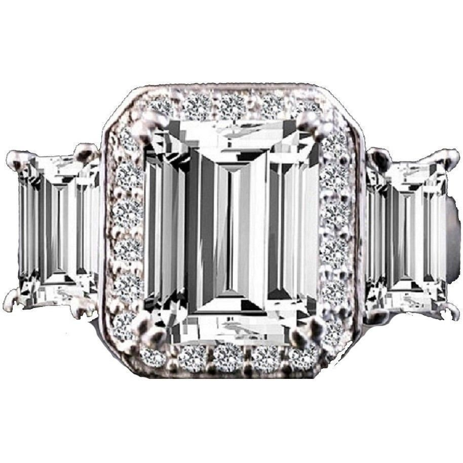 2 CT.(9x7mm) Intensely Radiant Brilliant Emerald Cut Diamond Veneer Cubic Zirconia with Two Side Baguettes (6x4mm) Vintage Style Sterling Silver Ring. 635R72227 - Diamond Veneer Jewelry