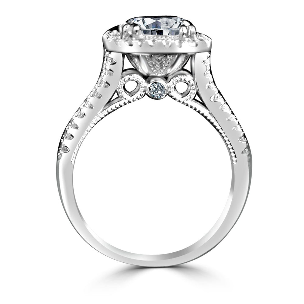 2 CT.(9x7mm) Intensely Radiant Emerald Shape Diamond Veneer Cubic Zirconia Split Shank Halo Sterling Silver Engagement/Wedding Ring. 635R4013 - Diamond Veneer Jewelry