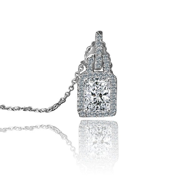 2 CT.(9x7mm) Intensely Radiant Rectangular Cut Diamond Veneer Cubic Zirconia Sterling Silver Pendant. 635P10826A - Diamond Veneer Jewelry