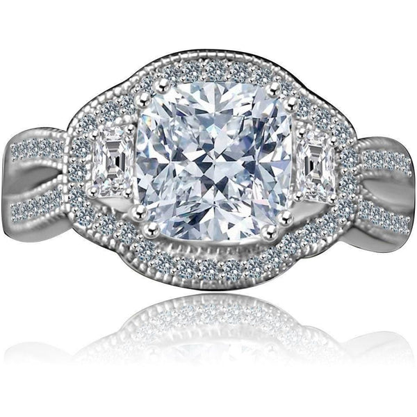 2.5 CT. Intensely Radiant Cushion Diamond Veneer Cubic Zirconia Vintage Halo Split Shank Engagement/Wedding Three Stone Sterling Silver Ring. 635R4004 - Diamond Veneer Jewelry