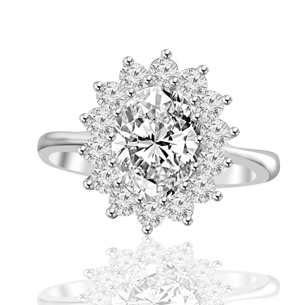 2.5 CT. Intensely Radiant Oval Diamond Veneer Cubic Zirconia Halo Engagement Sterling Silver Ring. 635R3229 - Diamond Veneer Jewelry
