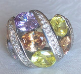 Multi color Zirconite Cubic Zirconia wide band Cocktail new Ring. 501R6x019