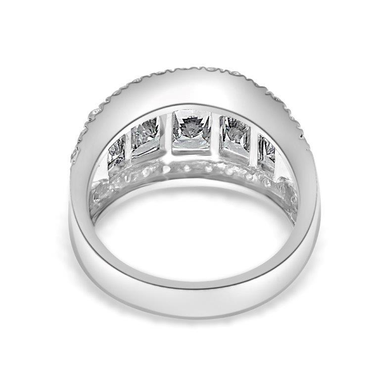 2.5CT Center Radiant Diamond Veneer Cubic Zirconia Sterling Silver Ring