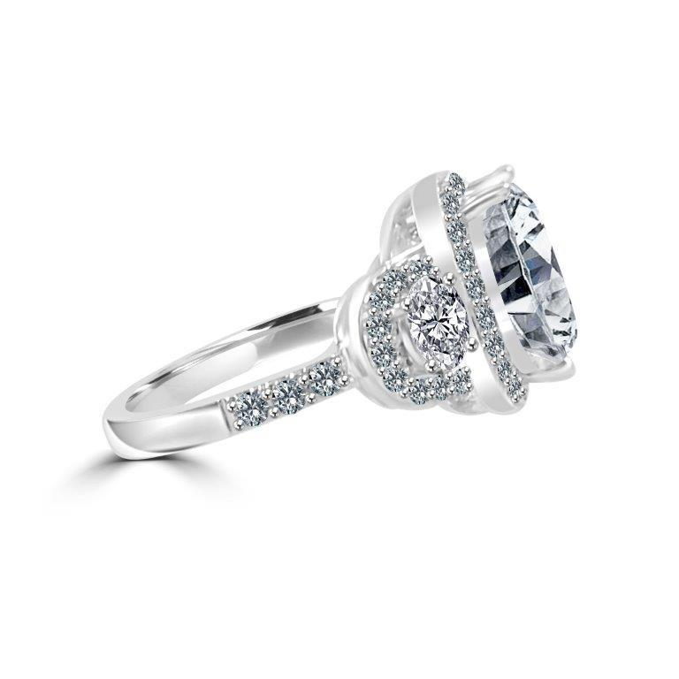 2.5CT Cushion Halo Diamond Veneer Cubic Zirconia Sterling Silver Ring. 635R71683