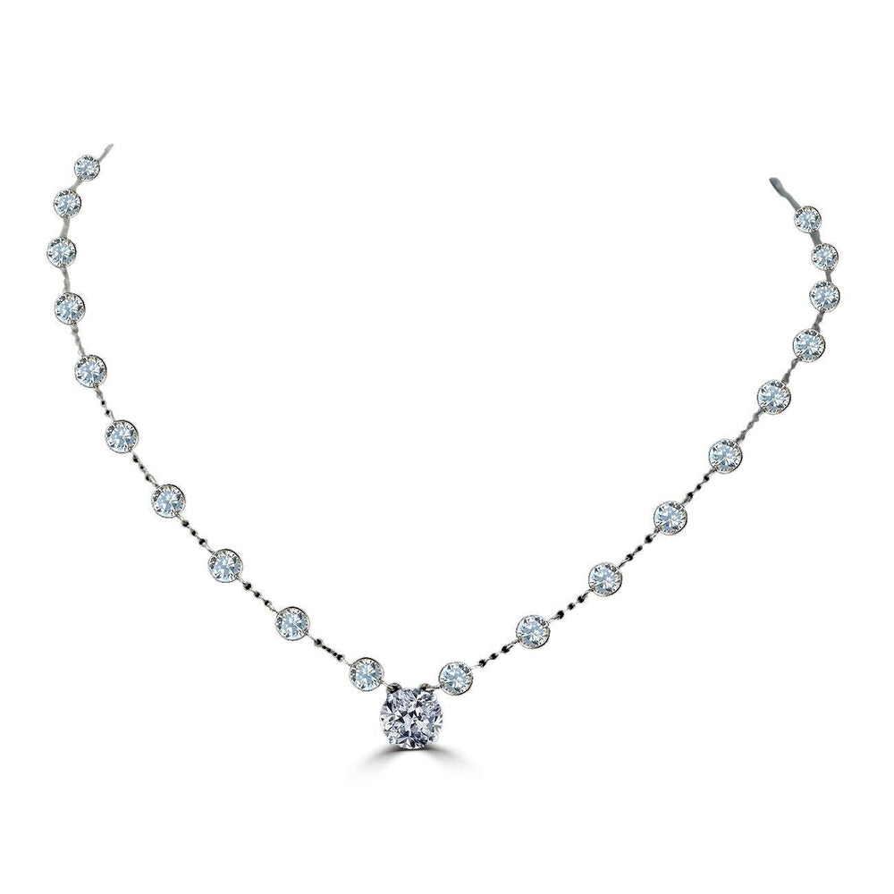 1.5CT Round center Diamond Veneer Cubic Zirconia Sterling silver Necklace.