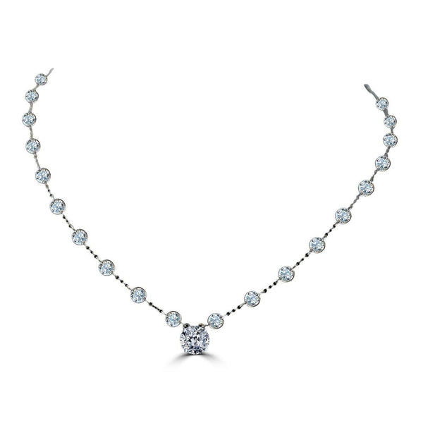 2.5CT Intensely Radiant Round center Diamond Veneer Cubic Zirconia Zirconite by The Inch Necklace. BZBYX30RD - Diamond Veneer Jewelry