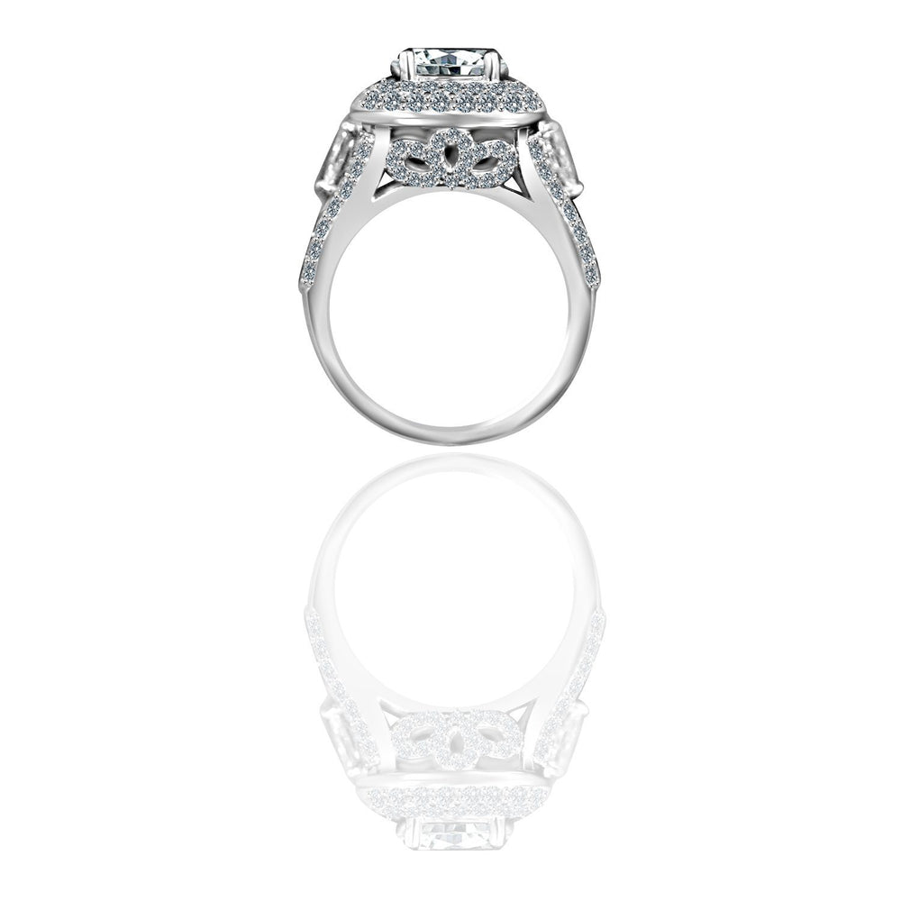 2CT intensely Radiant Round Diamond Veneer Cubic Zirconia Engagement/Wedding Sterling Silver Ring. 635R4010