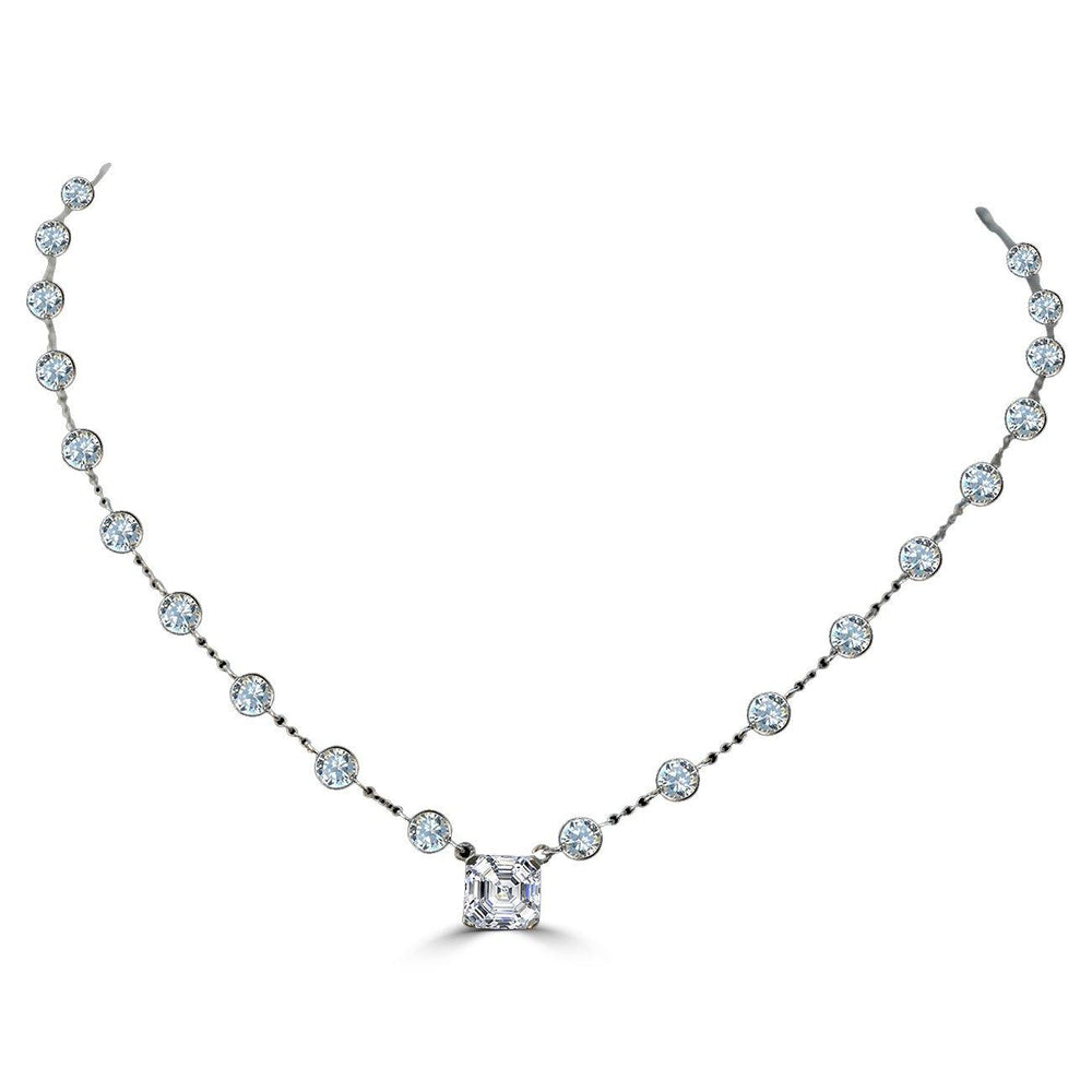 2CT Asscher Cut Center Diamond Veneer Cubic Zirconia Sterling silver Necklace. ZBYX30SQ