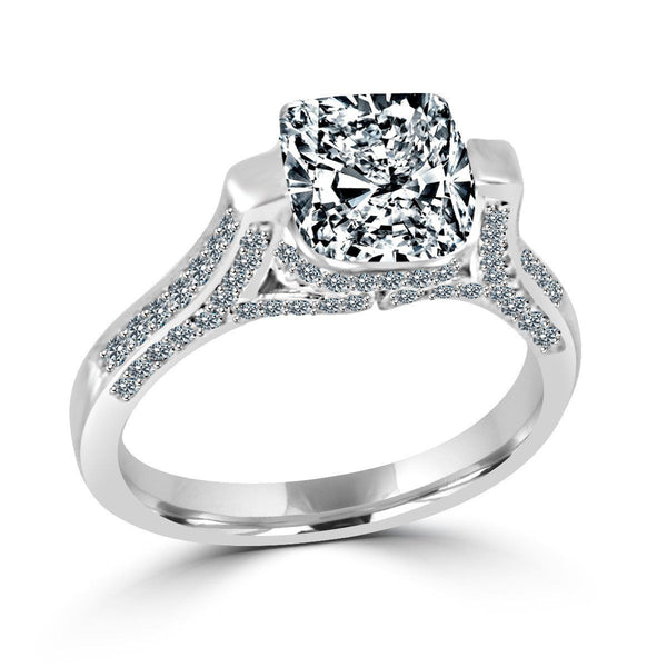 2CT.(8x8mm) Intensely Radiant Cushion Diamond Veneer Cubic Zirconia Tension Style Set in Sterling Silver Wedding/Engagement Ring. 635R71495 - Diamond Veneer Jewelry