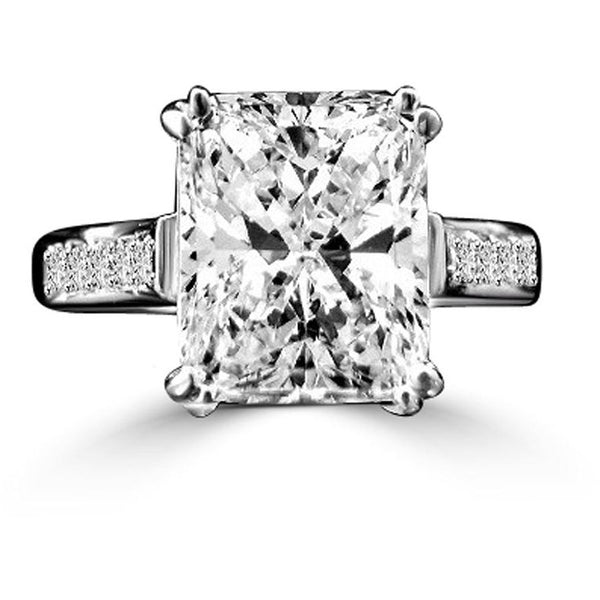 3 CT. (11x9mm) Intensely Radiant Emerald Shape Diamond Veneer Cubic Zirconia Sterling Silver Wedding/Engagement Ring. 635R3236 - Diamond Veneer Jewelry