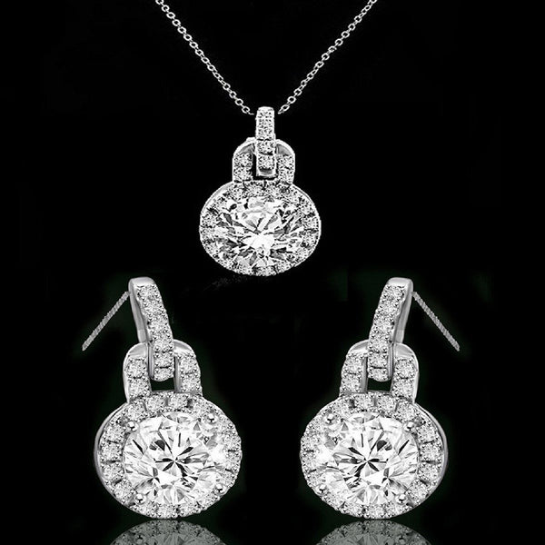 3 CT. Intensely Radiant Round Diamond Veneer Cubic Zirconia Pendant & 3 CT. TW Diamond Veneer Cubic Zirconia Post Earrings Set. 635P10732/635E3234 - Diamond Veneer Jewelry