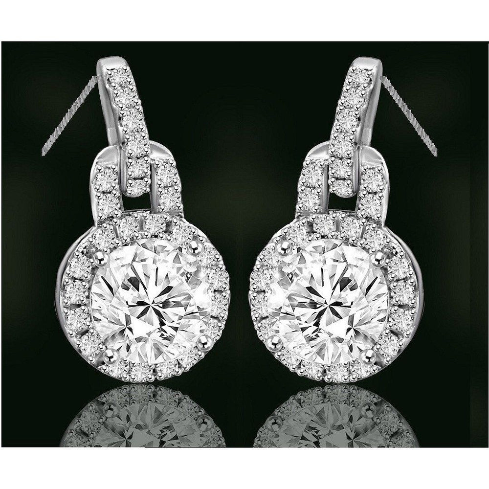 Round Diamond Veneer Cubic Zirconia Sterling Silver Halo Pendant and Earrings Set. 635P10732/635E3234