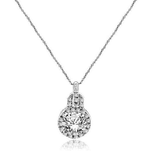 3 CT. Intensely Radiant Round Diamond Veneer Cubic Zirconia Sterling Silver Pendant. 635P10732 - Diamond Veneer Jewelry