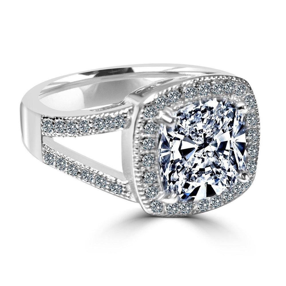 3.5C intensely Radiant Square Cushion Diamond Veneer Cubic Zirconia with Halo Pave Sterling Silver with Rhodium Electro Plate Ring. 635R0246 - Diamond Veneer Jewelry