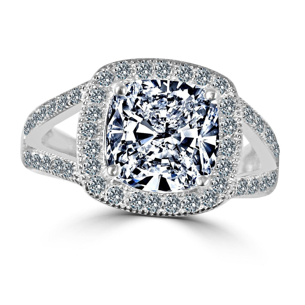 3 CT intensely Radiant Square Cushion Diamond Veneer Cubic Zirconia with Halo Pave Sterling Silver with Rhodium Electro Plate Ring. 635R0246 - Diamond Veneer Jewelry