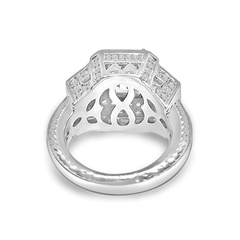 3 CT Radiant Diamond Veneer Cubic Zirconia three dimensions Sterling Silver New Ring. 635R12757 Rings Diamond Veneer Jewelry