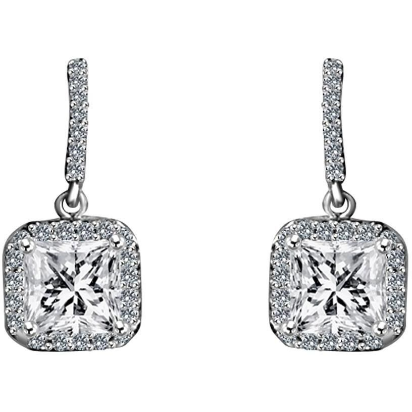 3 CTW Square Diamond Veneer Cubic Zirconia Sterling Silver Earrings. 635E10738