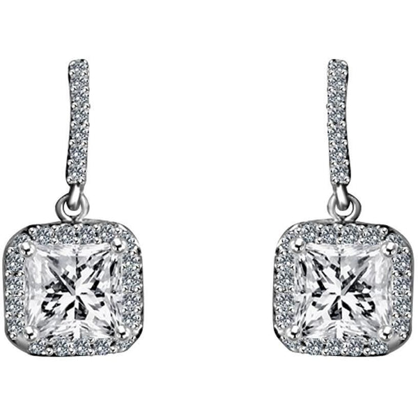 Sterling Silver Square Cut Earring Set - Diamond Veneer Jewelry