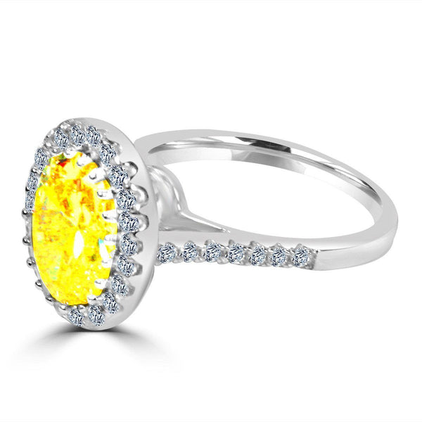 3 CT.(10x8mm) Intensely Radiant Canary Oval Center Diamond Veneer Cubic Zirconium Halo Pave Set - Diamond Veneer Jewelry