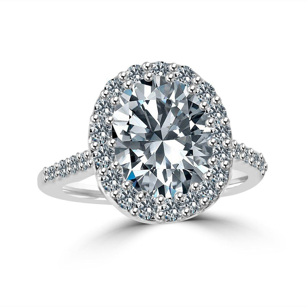3 CT.(10x8mm) Intensely Radiant Oval Center Diamond Veneer Cubic Zirconia with Halo Pave Set Sterling Silver with Rhodium Electro-Plate Ring. 635R0245 - Diamond Veneer Jewelry