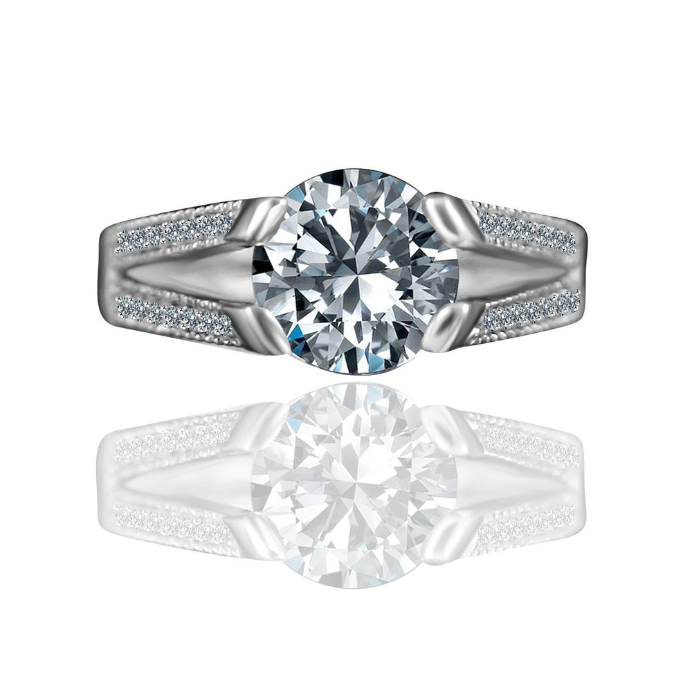 3 CT.(9mm) Intensely Radiant Round Diamond Veneer Cubic Zirconia Tension Style Vintage Miligree Design Engagement Set in Sterling Silver Ring. 635R13624 | Yaacov Hassidim