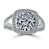 3.5CT Cushion Diamond Veneer Cubic Zirconia 14K Gold Ring. - Diamond Veneer Jewelry