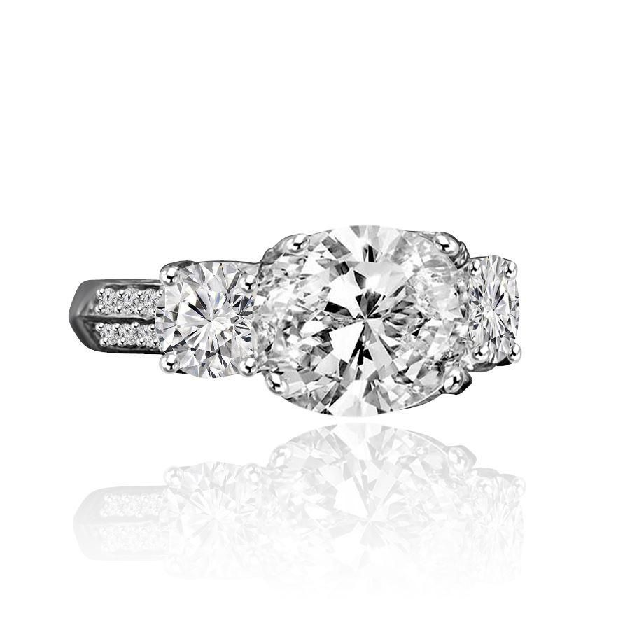 3 TW. Intensely Radiant Cushion Square Diamond Veneer Cubic Zirconia Three Stones Sterling Silver Ring. 635R71302