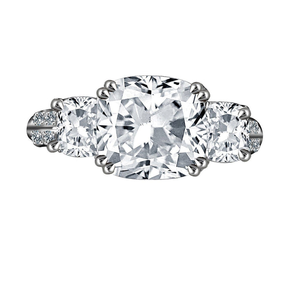 3 TW. Intensely Radiant Cushion Square Diamond Veneer Cubic Zirconia Three Stones Sterling Silver Ring. 635R71302 - Diamond Veneer Jewelry