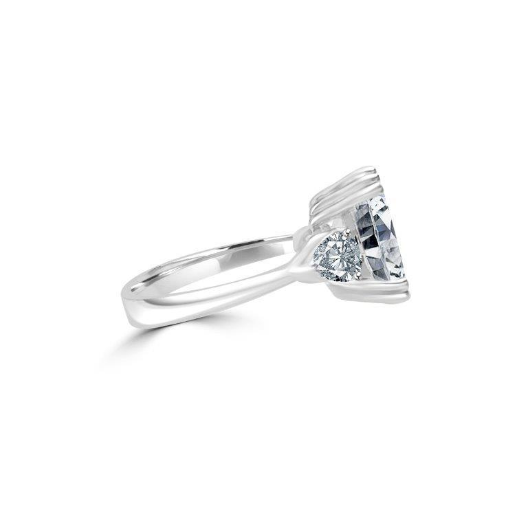 3.5CT Cushion Diamond Veneer Cubic zirconia three stone Sterling Silver Ring. 635R71437