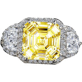 3.5CT Intensely Radiant Asscher Cut Diamond Veneer Cubic Zirconia with Halo Settings Set with Zirconite Half Moon Sides Sterling Silver Ring 635R71560 - Diamond Veneer Jewelry