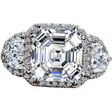 3.5CT Intensely radiant Asscher Cut Diamond Veneer Cubic Zirconia Sterling Silver Ring - Diamond Veneer Jewelry