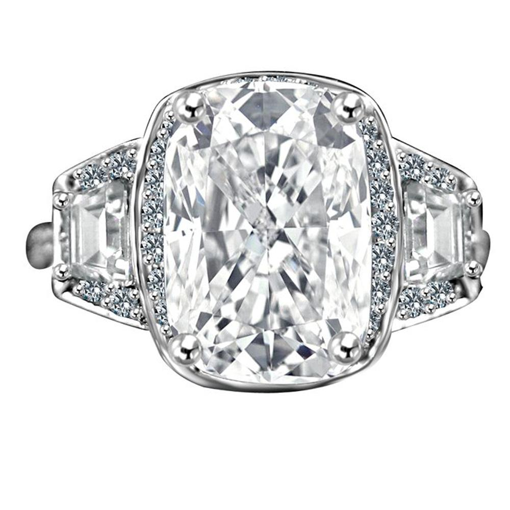 3.5CT. Intensely Radiant Cushion Center Diamond Veneer Cubic Zirconia with Halo Setting Sterling Silver Ring with Side Tapered Baguette. 635R71567 - Diamond Veneer Jewelry