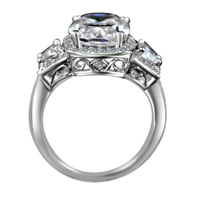 3.5CT Cushion Diamond Veneer Cubic Zirconia 14K Gold Ring. 635R71567K