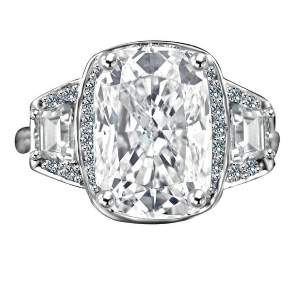 3.5CT. Intensely radiant Cushion Diamond Veneer Cubic Zirconia set in 14K Solid Gold Setting Ring with Side Tapered Baguettes. 635R71567k - Diamond Veneer Jewelry