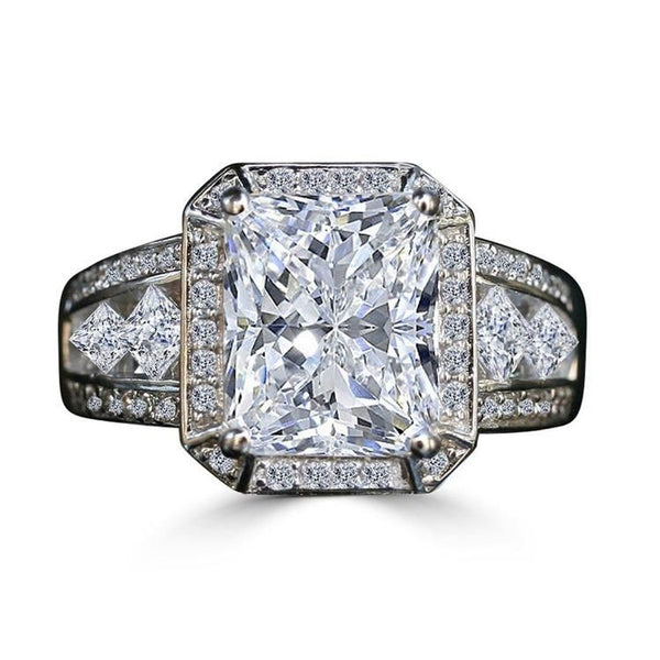 3.5CT  Intensely Radiant Diamond Veneer Cubic Zirconia  Halo Settings Sterling Silver Vintage  Ring.635R71484 - Diamond Veneer Jewelry