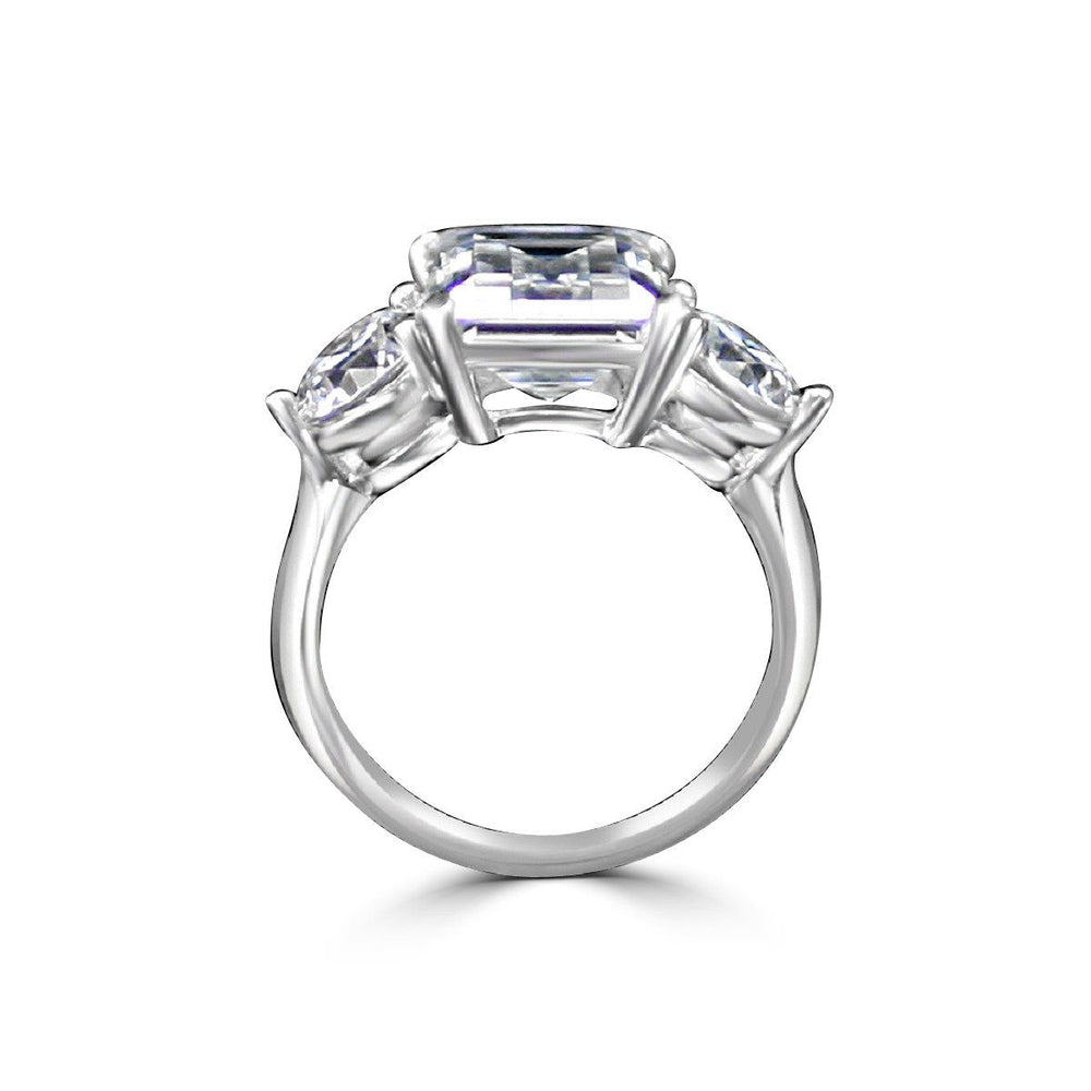 3.5ct Intensely Radiant Emerald  Diamond Veneer Cubic Zirconia  with 1 CT Round Stone ring engagement wedding ring in sterling silver 635R2118EC - Diamond Veneer Jewelry
