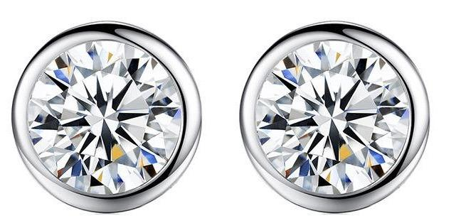 Round Zirconite Cubic Zirconia Sterling Silver Cubic Zirconia Full Bezel Stud Earrings. EBZL | Yaacov Hassidim