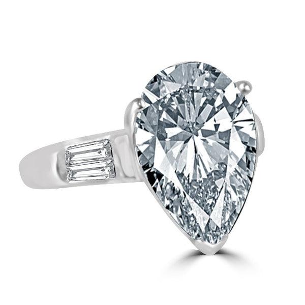 4 CT Intensely Radiant Pear Diamond Veneer Cubic Zirconia  with  Engagement/Wedding Ring in Sterling Silver 635R71343 - Diamond Veneer Jewelry