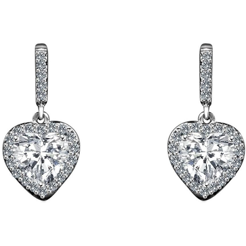 Sterling Silver Heart Drop Earring Set - Diamond Veneer Jewelry