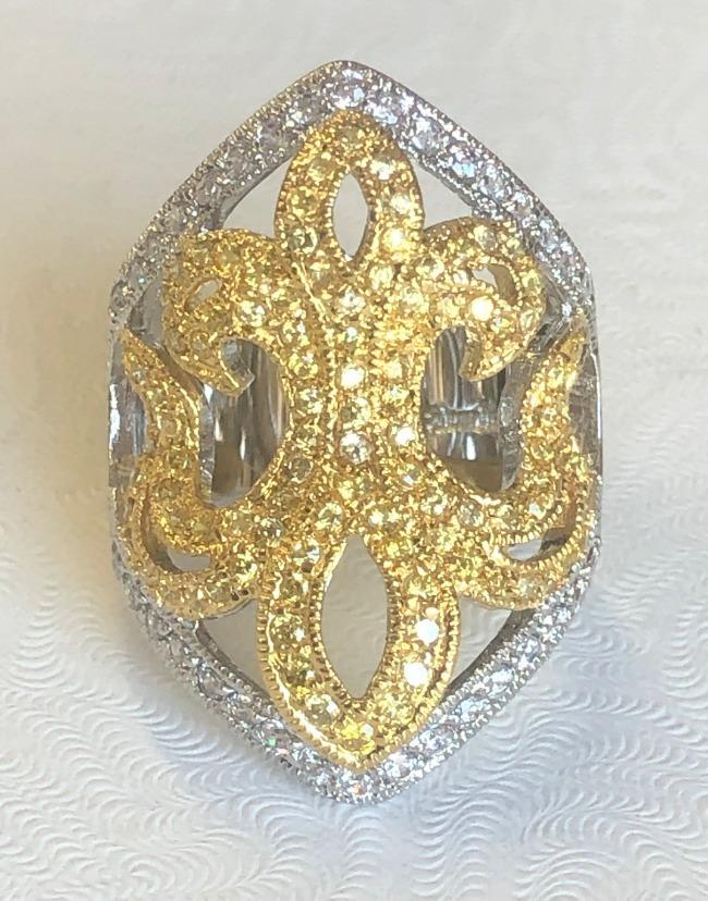 Fleur de Lis Zirconite Cubic Zirconia Sterling Silver Wide new Ring. B501R7575