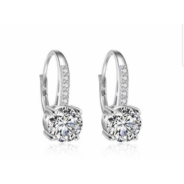 4CTW Diamond Veneer Cubic zirconia Sterling silver Lever back Earrings. 602E11330