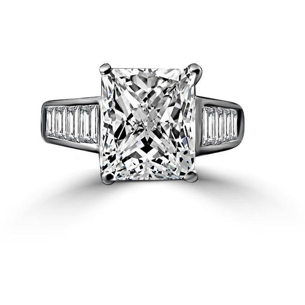 5 CT. (12x10mm) intensely Radiant Diamond Veneer Cubic zirconia set in solid 14K gold timeless Classic Cocktail/Wedding/Engagement Ring 635R7817K - Diamond Veneer Jewelry