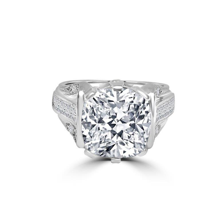 5 CT Cushion Square Zirconite Cubic Zirconia Vintage style Sterling Silver Ring. 602R71454