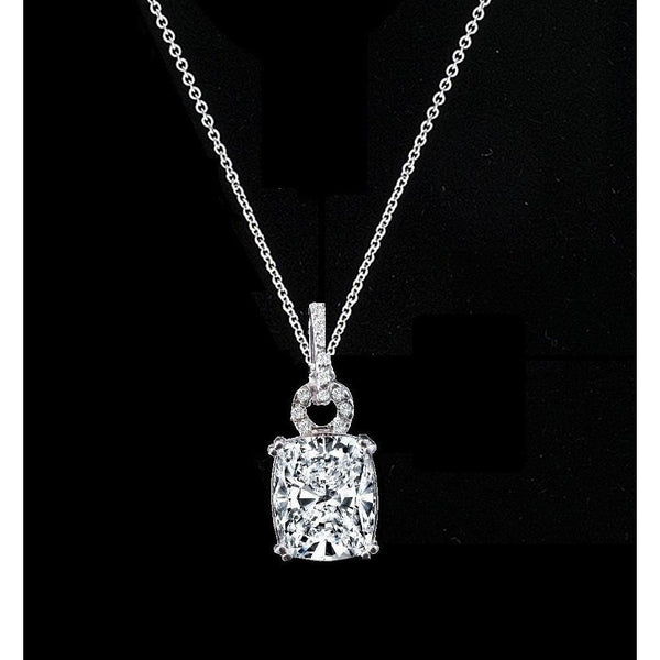 5 CT. Intensely Radiant Cushion Diamond Veneer Cubic Zirconia Fancy Bail Sterling Silver Pendant. 635P10784 - Diamond Veneer Jewelry