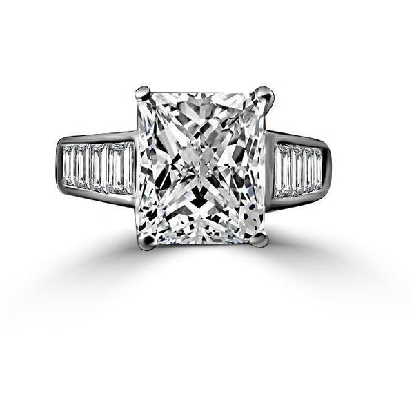 5 CT.(12x10mm) Intensely Radiant Cut Diamond Veneer Cubic Zirconia Sterling Silver Engagement Ring. 635R7817 - Diamond Veneer Jewelry
