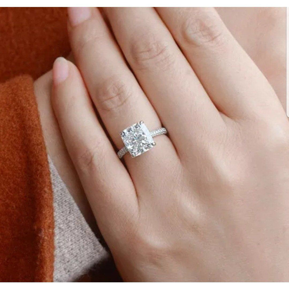 5CT Cushion Square Diamond Veneer Cubic Zirconia Sterling Silver Ring. New Item!