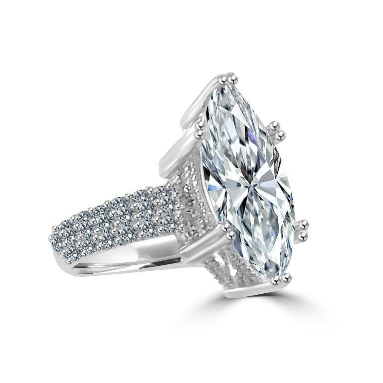5CT Marquise Zirconite Cubic Zirconia Sterling silver Solitaire Ring 600R12827 - Diamond Veneer Jewelry