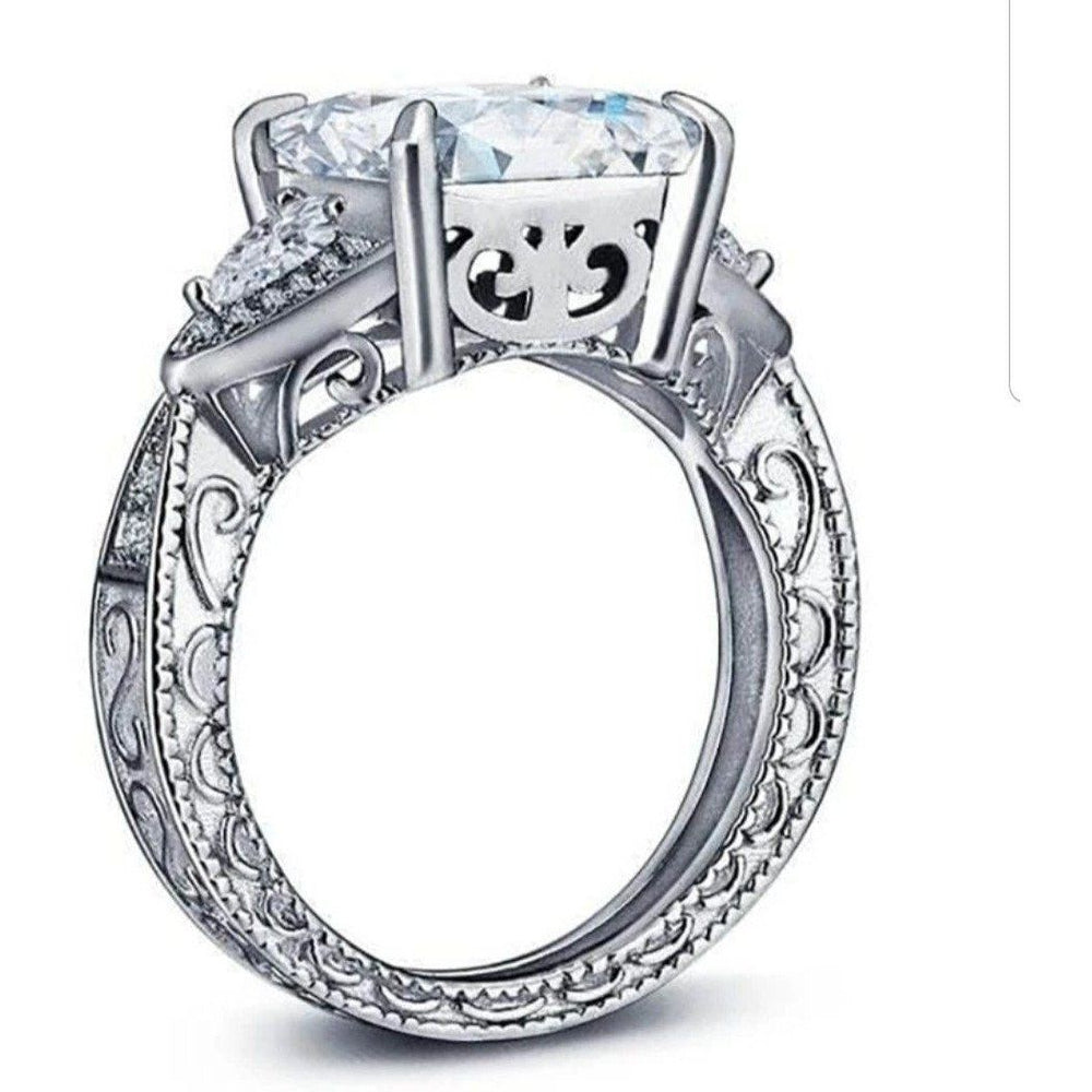 5CT Square Asscher Diamond Veneer Cubic zirconia Sterling silver Ring. 635R13832