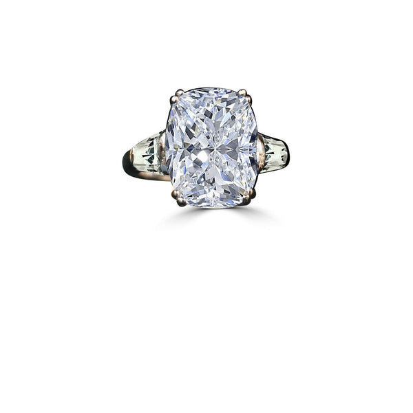 5CT.(12x10mm) intensely Radiant Cushion Diamond Veneer Cubic Zirconia Ring Detailed with Tapered Baguette Sides. 635R71575 - Diamond Veneer Jewelry